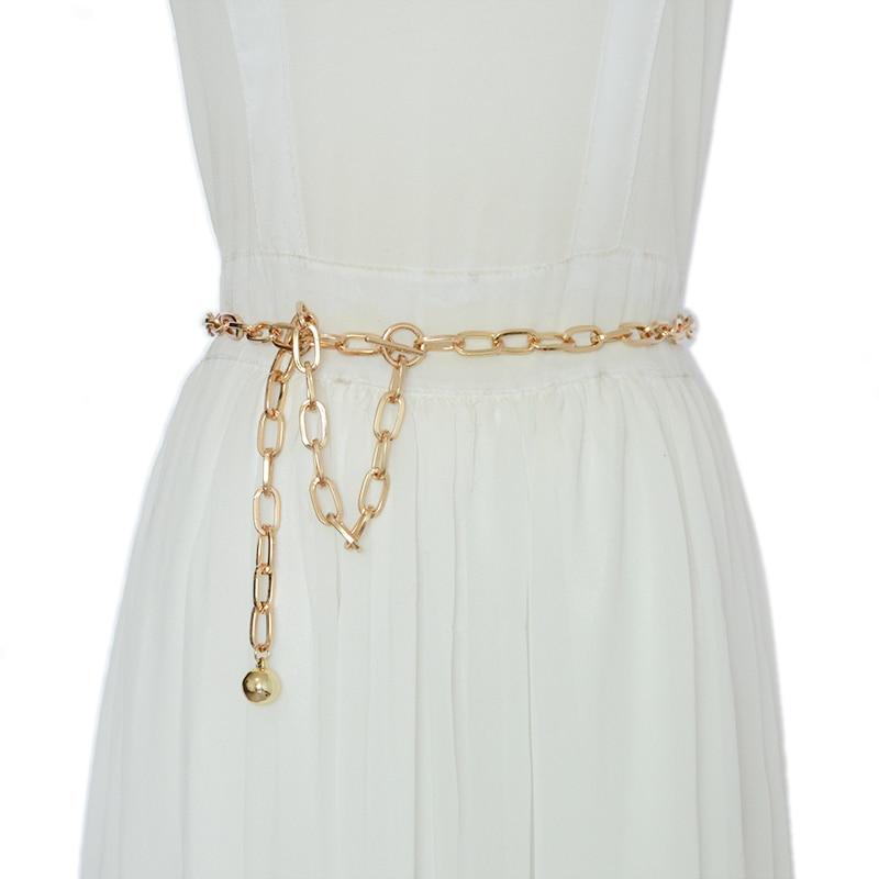 Luxury Brand Designer 2020 New Oval Ring Fashion Metal Waist Chain Elegant Temperament Body Chain Belt Bg-1604