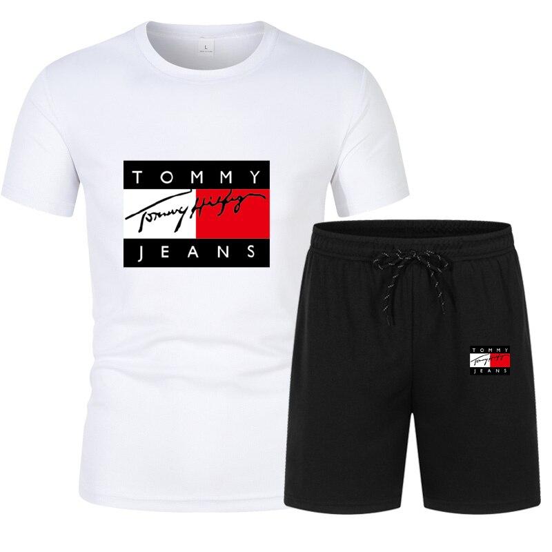 2021 New Summer men's tracksuit, Cotton Breathable Casual Men t-shirt, Men's clothes t-shirts + Men's shorts