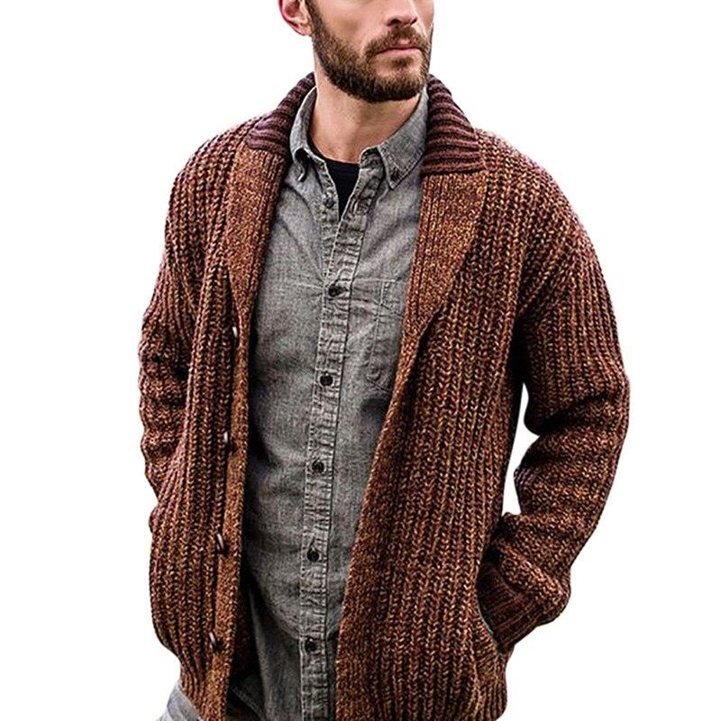 Men Cardigan Sweater 2020 Autumn Winter New Men's Long-sleeved Sweater Lapel Cardigan Button Knit Sweater Coat Tide Warm