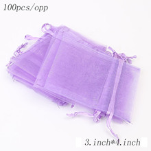 Wholesale 7.5 * 10CM Organza Drawstring Bag Jewelry Wedding Candy Gift Transparent 100PCS