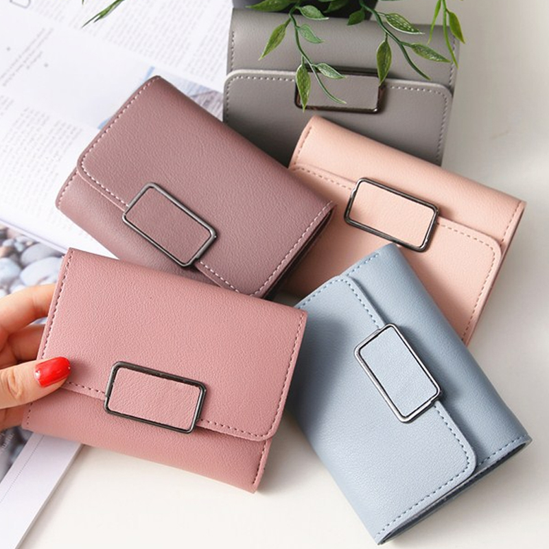 Small Wallet Money Female Korean Mini Women Students Love All-Match Solid Short Casual title=