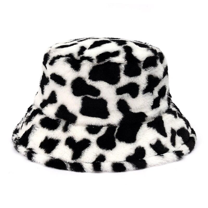 Новая зимняя плюшевая Панама из искусственного меха с принтом коровы для женщин, уличная теплая мягкая бархатная шапка в рыбацком стиле для девушек, модная Панама|Мужская панама|   | АлиЭкспресс - шапки