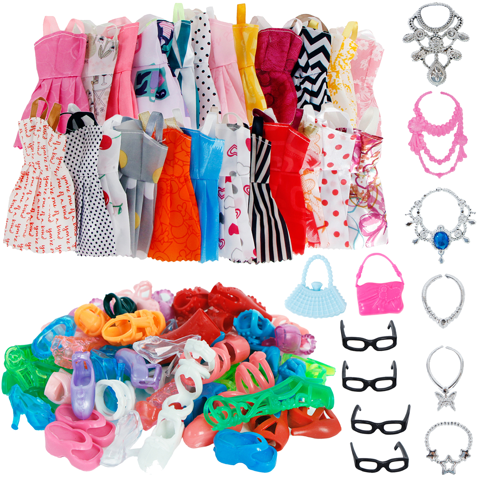 32 Item/Set Doll Accessories=10 Mix Fashion Cute Dress+ 4 Glasses+ 6 Necklaces+2 Handbag+ 10 Shoes Dress Clothes For Doll