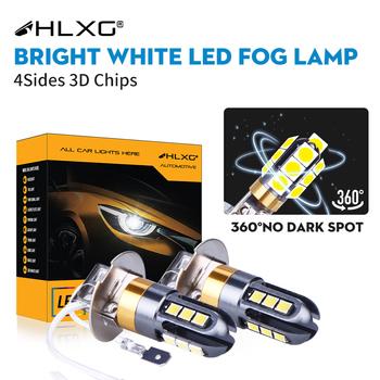 H3 LED H1 przednie światła przeciwmgielne 360 stopni białe 3030 żetonów 12 SMD High Power LED światła przeciwmgielne 3D światło główne żarówka obiektyw DC 12V HLXG tanie i dobre opinie 12 V Rohs CN (pochodzenie) External Lights 12V 24V 6000K Bright White yes also for left hand drive Spot Directly replace original bulb