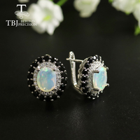 tbj 2.5ct Ethiopia Opal clasp earring oval facet cut 7*9mm gemstone Jewelry 925 sterling silver for women best gift birthday