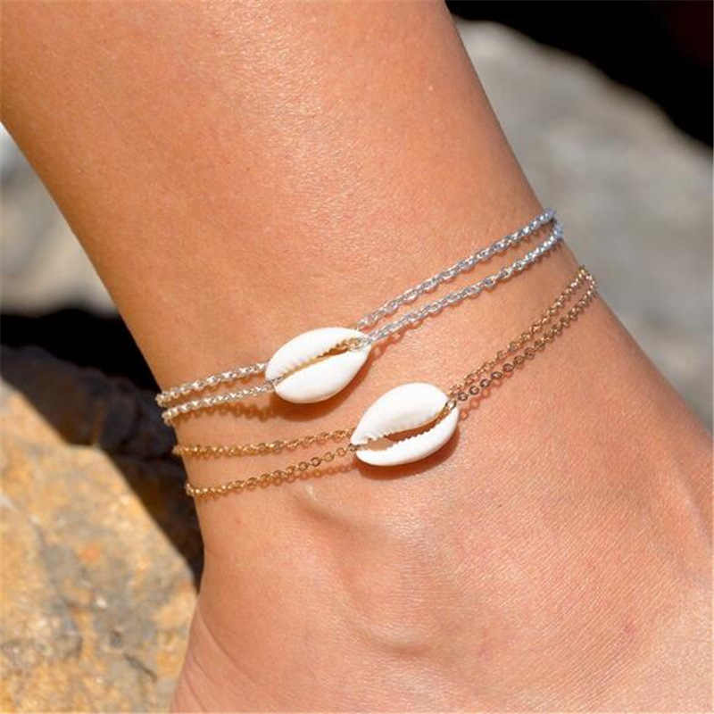 ใหม่แฟชั่น Sliver GOLD สี Leaf คริสตัล Boho ฤดูร้อนชายหาดรองเท้าแตะสร้อยข้อมือข้อเท้าบนขาผู้หญิงอุปกรณ์เสริมเท้า