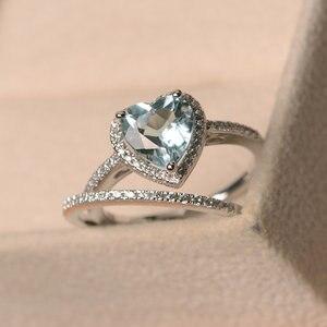 Новое Женское кольцо с голубым топазом из стерлингового серебра S925 пробы, простое модное женское кольцо в форме сердца
