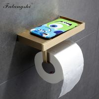 Brush Paper Holder With Phone Storage Shelf Bathroom Accessories Copper Brass Toilet Roll Paper Holder Tissue Boxes WB8211