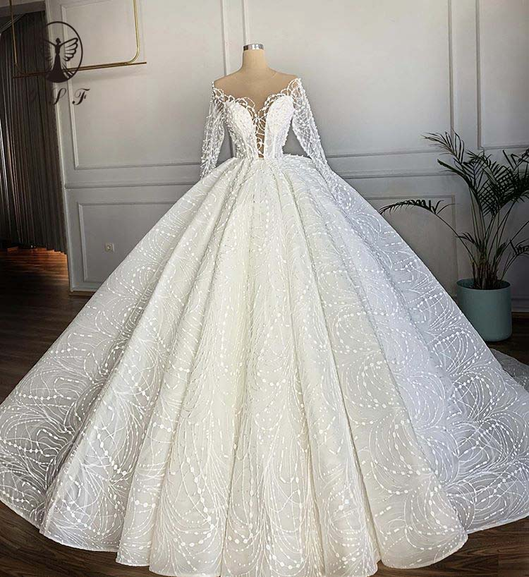 Elegant Moda Illusion O Neck Beaded Pearls Long Sleeve Ball Gown Puffy Lace Wedding Dresses 2020
