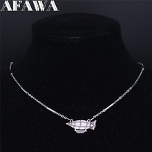 AFAWA Submarine Stainless Steel Statement Necklace Women Silver Color Neckless Jewelry collar acero inoxidable mujer N3734S01 summer mermaid stainless steel long necklace men women silver color necklace jewelry collar acero inoxidable mujer nzz5s03