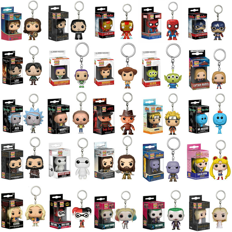 FUNKO POP Keychain SpiderMan Captain Marvel Game Of Thrones Iron Man Action Figure Thor Toy Spiderman Panther PVC Model Doll