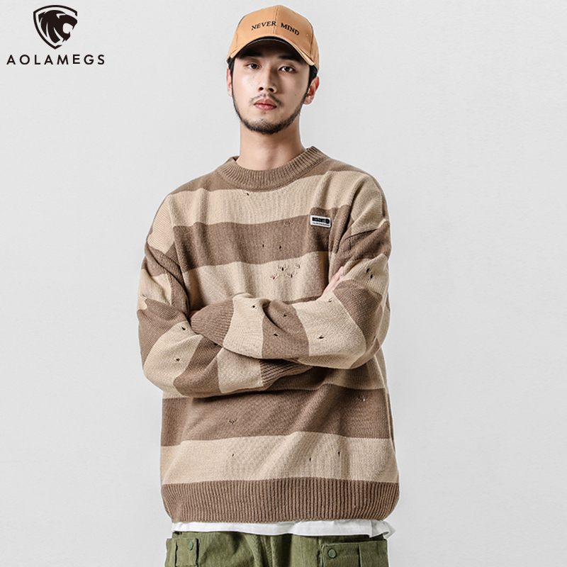 Aolamegs Sweater Men Striped Print Sweater Men Harajuku Retro Tops Casual Simple Style Advanced Knitted Autumn Couple Streetwear