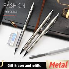 Lapiseira de metal 0.5 0.7 0.9 milímetros Estudantes escrita desenho projetando caneta Preta 5 Pçs/set
