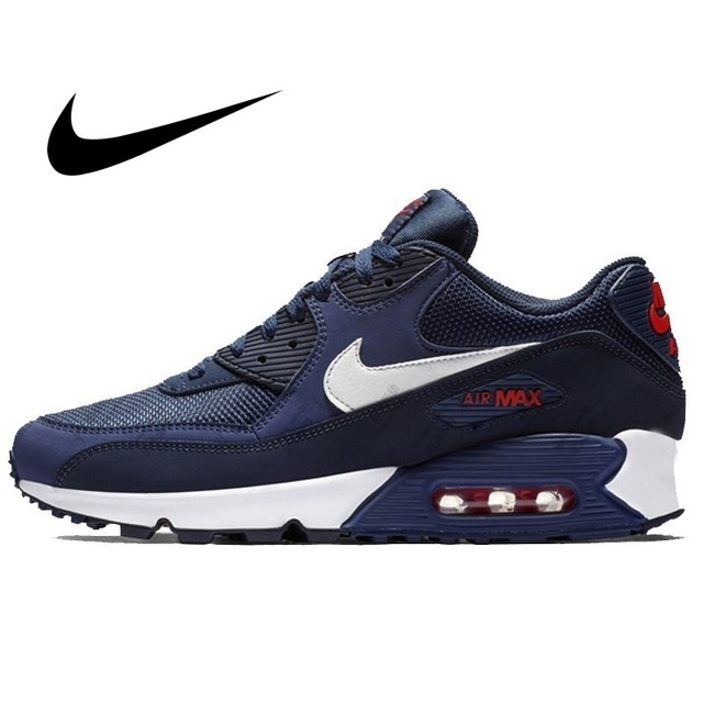 Original NIKE AIR MAX 90 ESSENTIAL Men's Running Shoes Shock Absorption Fashion Breathable Sport Outdoor Sneakers AJ1285-403