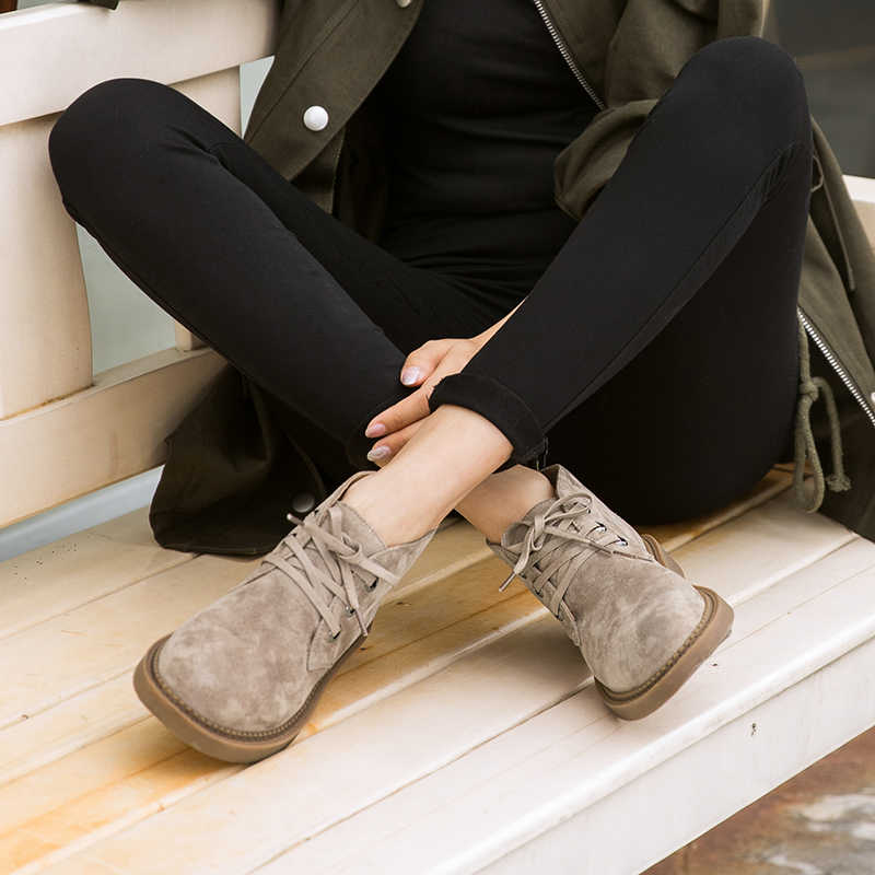 BeauToday Enkellaars Vrouwen Echt Suede Leer Lace-Up Ronde Neus Top Kwaliteit Herfst Winter Lady Fashion Schoenen 04018