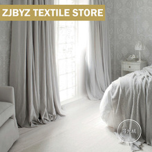 Curtains Gray Bedroom Warm Luxury Velvet Living-Room American Modern Shading Light Retro