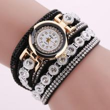Women Retro Exquisite Weaving Crystal Bracelet Quartz Watch Casual Girls Alloy Wristwatch for Party Gifts