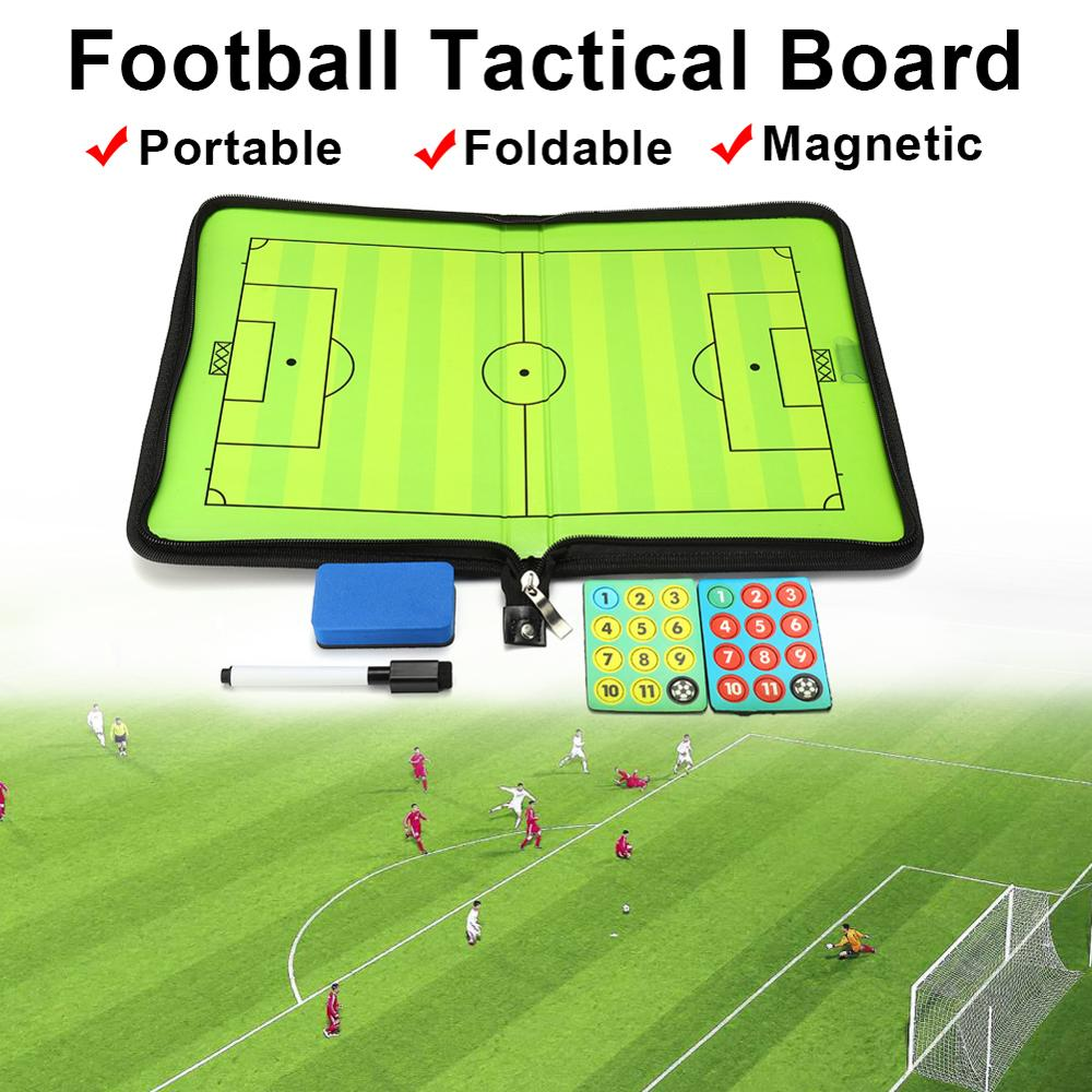 Portable Leather Magnetic Foldable Football Tactical Board Training Coaching Kit + 24pcs Magnets For Tactic Drawing Or Noting