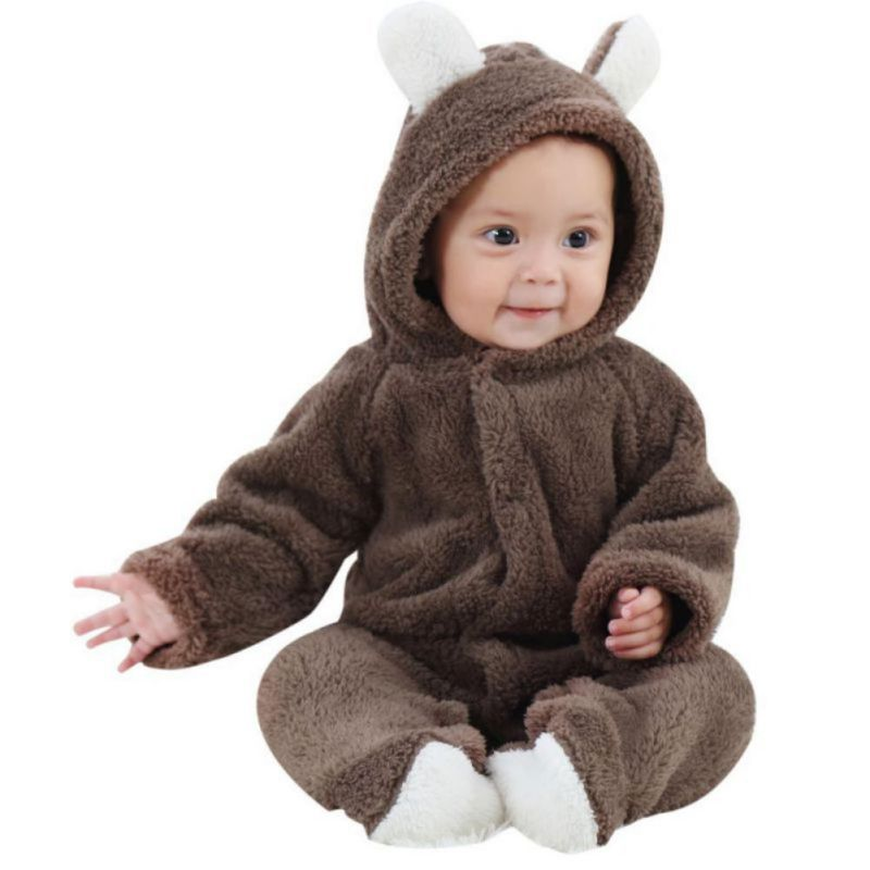0-18M Baby Rompers Newborn Toddler Soft Warm Cartoon Jumpsuit Cute Infant Newborn Winter Warm Clothing