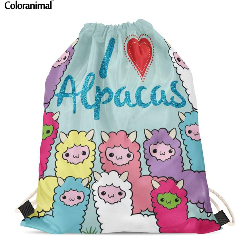 Coloranimal Drawstring Backpack For Women/Men Cartoon Alpaca Llama Printing Gmy Sack Shoulder Bagpack Fitness Storage Picnic Bag