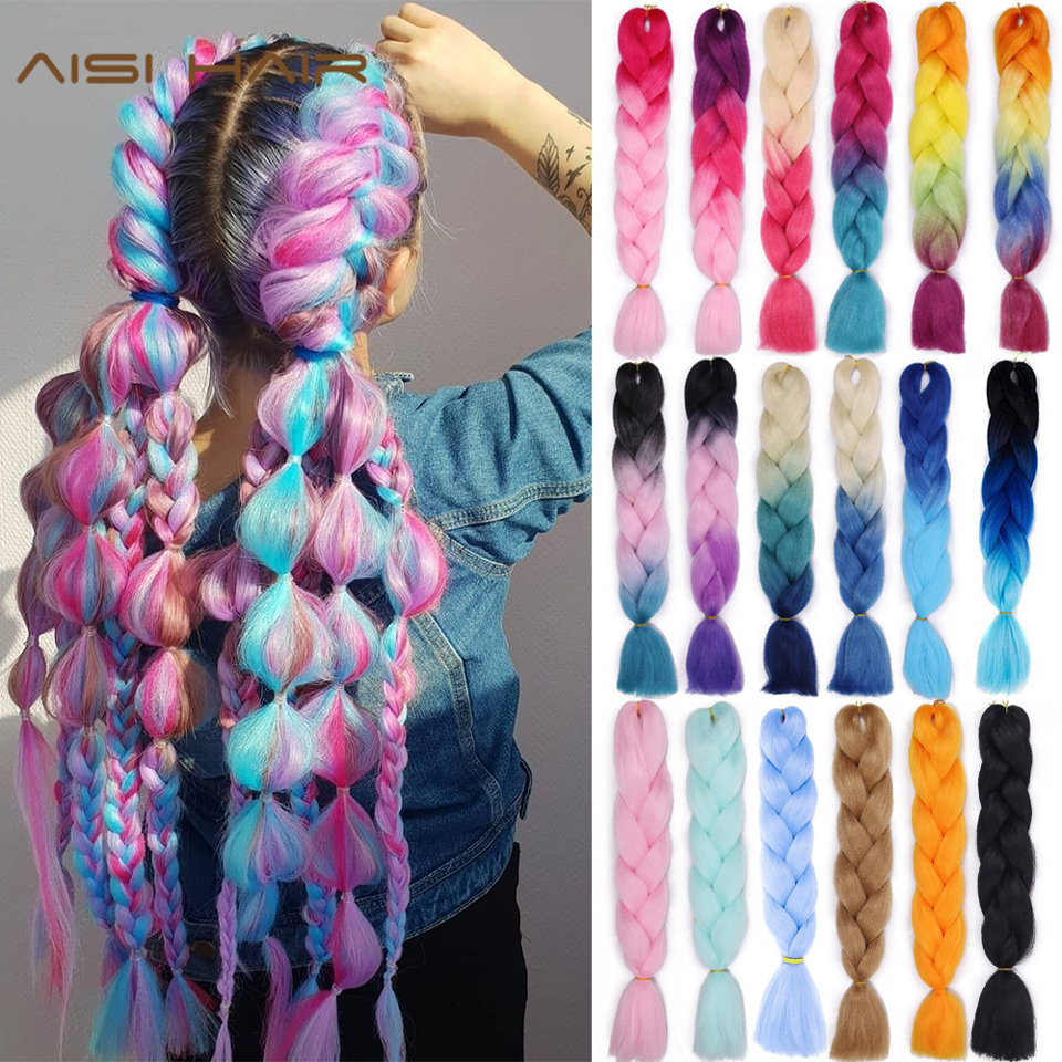AISI HAIR Jumb Braiding Synthetic Hair 42Color Available 24Inch Crochet Blonde Hair For Women Extensions Jumbo Braids Hairstyles