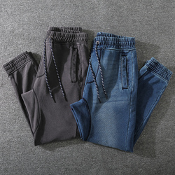 Winter Fall Fashion Thicken Stretchy Knit Sweatpants Men Japan Style Basic Elastic Waist Solid Color Vintage Loose Casual Jeans