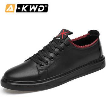 Mode Schuhe 2019 Herbst Männer Designer Turnschuhe für Männer Echtes Leder Schuhe Männer Männer Schuhe Casual Schwarz Turnschuhe 37-45 flache