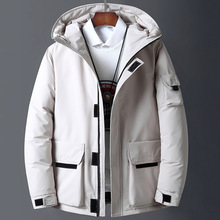 Kanada dół kurtki męska biała dół kurtki odzież robocza w nowym stylu młoda kurtka pikowana krótki zagęścić zewnątrz ciepły zimowy żakiet tanie tanio CN (pochodzenie) Luźne Canada Down Jacket Na co dzień zipper Pełna Zamki Grube Suknem Poliester Białe kaczki dół NONE