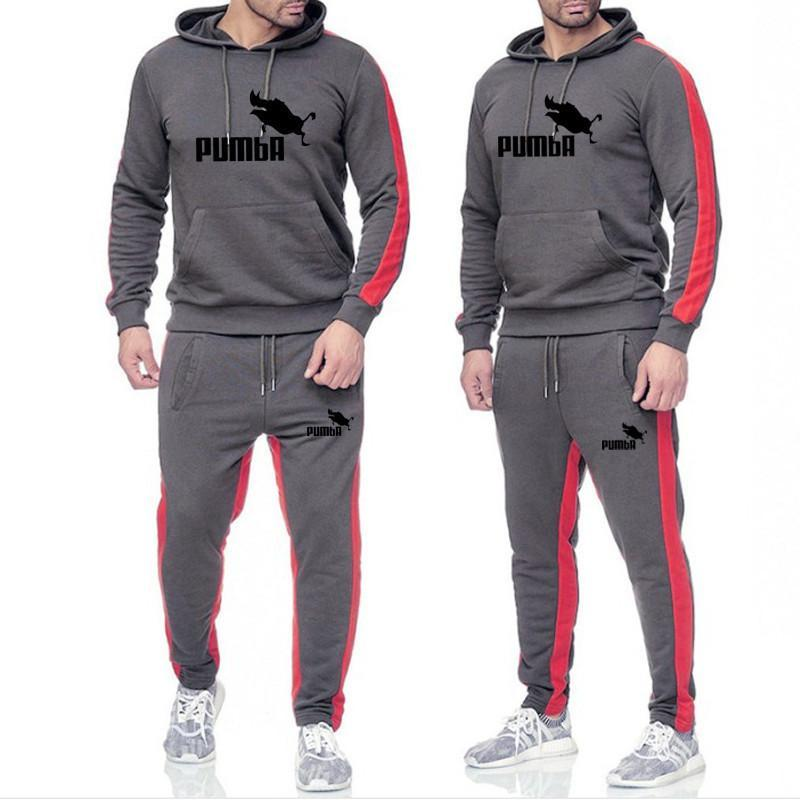 Tracksuit Men 2020 New Men's Suits Men's Fashion Casual Hooded Sweater Pumba Printed Tracksuit Men Male European Size S-3XL