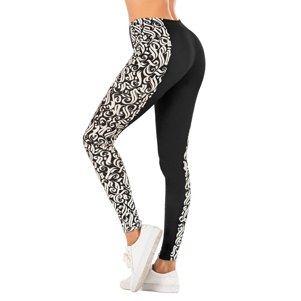 Fashion Woman Pants Sexy Women Legging Black Symbol Stitching Printing Fitness Leggins Slim Legins Soft And Stretchy Leggings