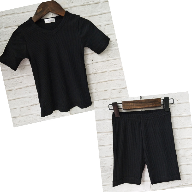 HITOMAGIC 2020 New Arrival Kids Clothes Ribbed Sets Boys Baby Girls Clothing Hot Sale Summer Shorts Children Outfit Black Pajama