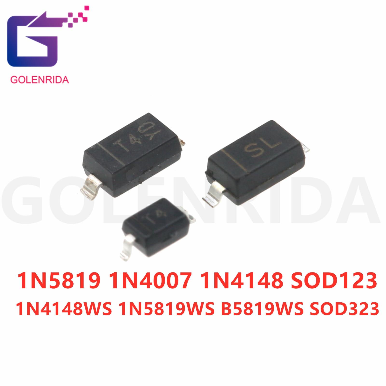 100 шт. SMD diode 0805 SOD-123 1N5819 1N4007 1N4148 SOD123 SOD-323 1206 1N4148WS 1N5819WS B5819WS SOD323
