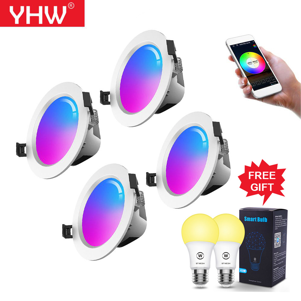 YHW 5W/9W RGB LED Spot Light Smart Downlight Bluetooth Mesh Celling Lamp Color Changing l Warm Cool Light With Alexa Google Home