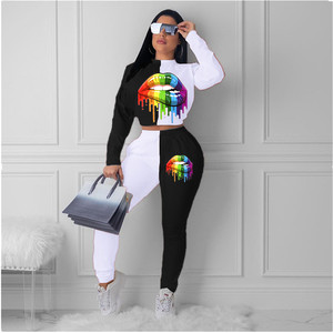 Two Piece Set Women Tracksuits Autumn Mouth Print Long Sleeve Pullover Top Long Pants Spring Fall Clothes for Women Lounge Wear