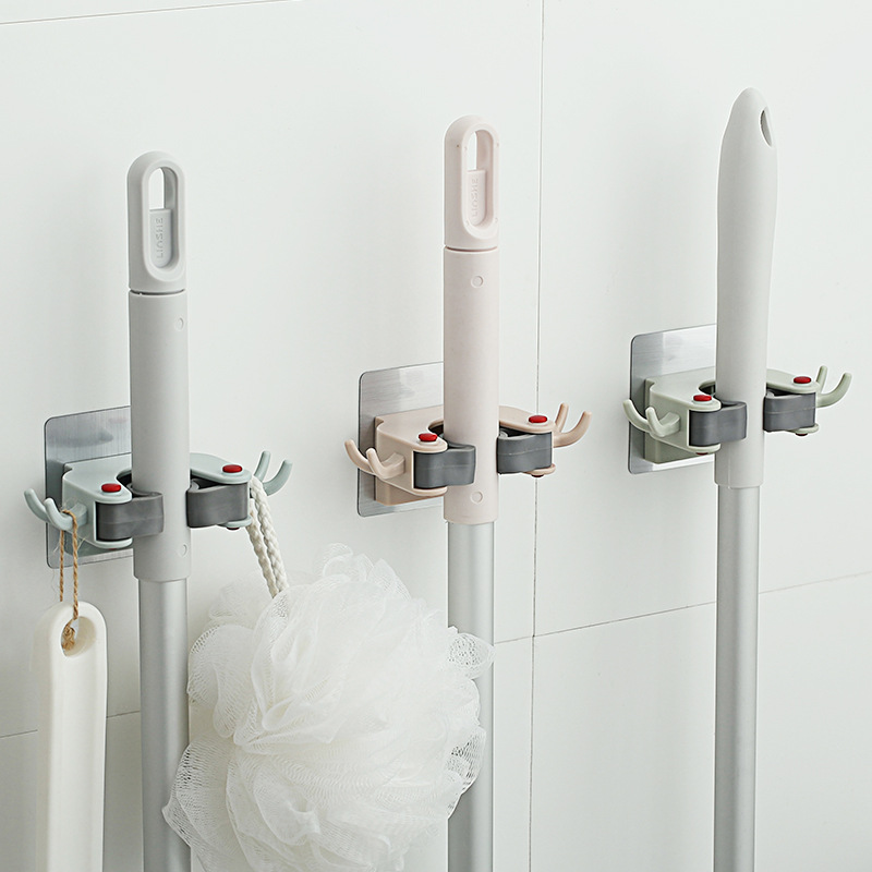 Mop Broom Holder Heavy Duty Mop Organizer Home Adhesive Storage Hook Mop Broom Hook Kitchen Hangers Bathroom Organizer