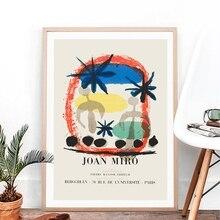 Cartel abstracto Vintage de la exposición de Joan Miro, cuadro famoso de la pintura en lienzo, impresiones modernas de mediados de siglo, Arte de la pared Decoración para el hogar