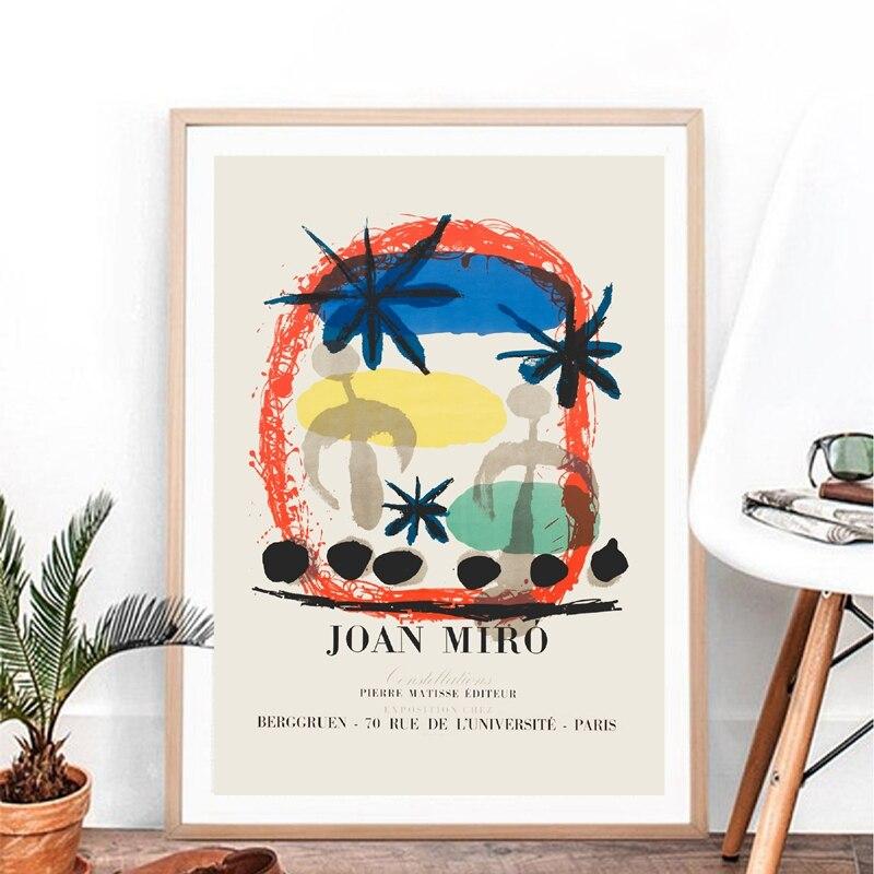 Joan Miro exposition Vintage abstrait affiche célèbre toile peinture photo milieu du siècle moderne imprime maison mur Art décor Peinture et calligraphie    - AliExpress