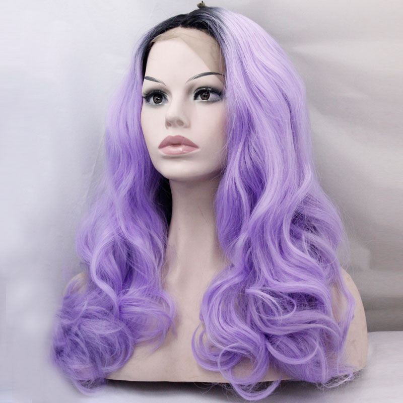 Ombre Purple Lace Front Wig Long Body Wavy Wig Women's Fashion Natural Hairline Synthetic Wigs For Women Cosplay Party Wedding