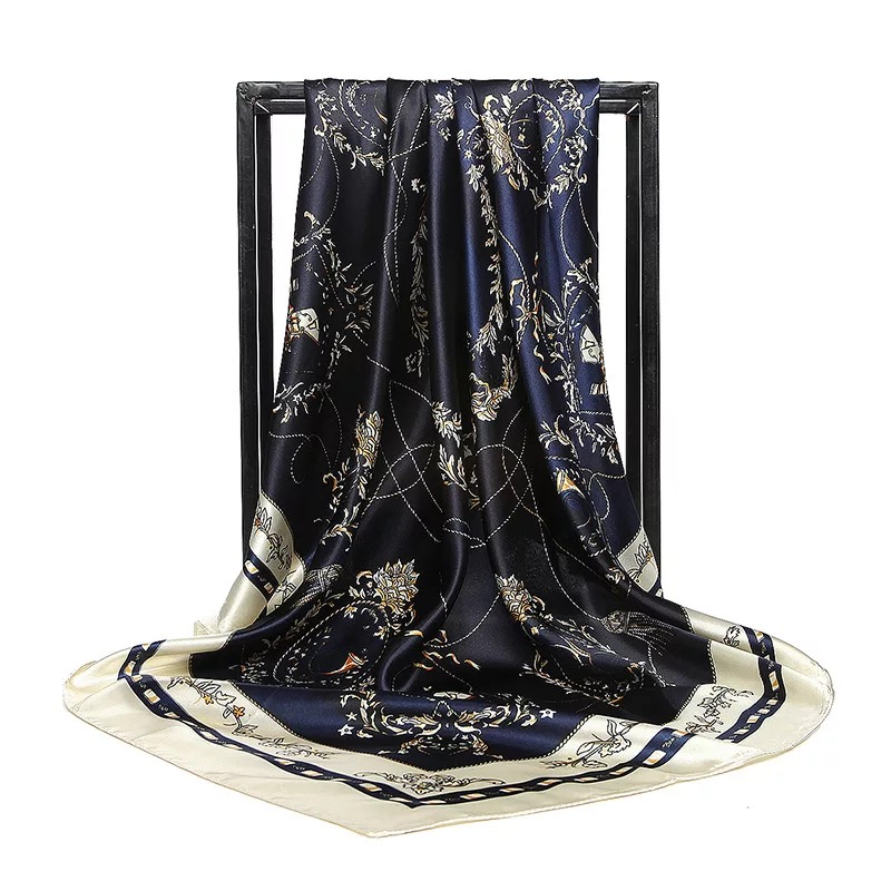 2020 Luxury Brand Real Fabrics Scarf Women 90cm Bandana Printed Headscarf Versatile Silk Scarves Poncho Infinity Chiffon Hijab