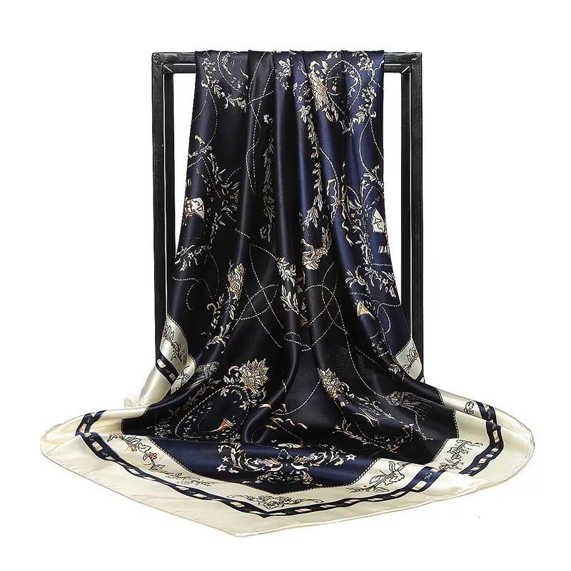 Роскошный брендовый женский шарф из натуральной ткани, 90 см, бандана с принтом, универсальный шелковый шарф, пончо, шифоновый хиджаб 2020