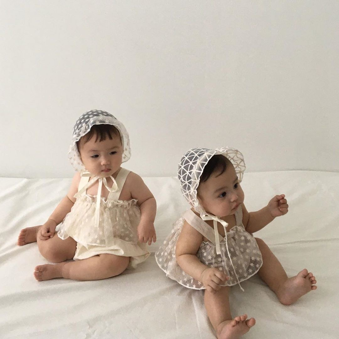 3603 Korean Children's Wear Baby Boys And Girls' Dotted Lace Sling Rompers Girls Summer Sling Vest Romper One Year Old Romper