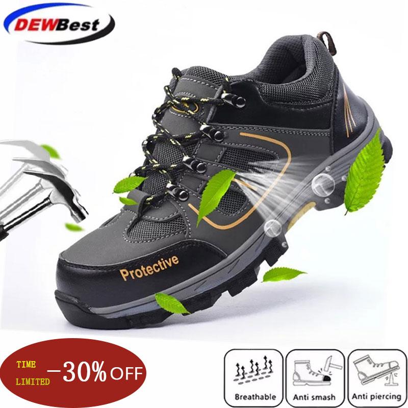 Dewbest Wilderness Survival Safety Shoes Steel Toe Steel Mid-plate Anti-slip Anti-smashing Work Men Work Boots