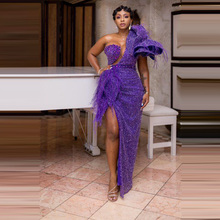 African Dresses For Women Purple Beading With Tassels High Slit One Shoulder Floor Length Evening Formal Long Gowns 2020