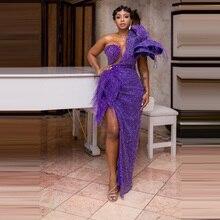 Robe africaine longue, avec perles violettes, avec glands, asymétrique épaule dénudée, longueur au sol, robe élégante, 2020