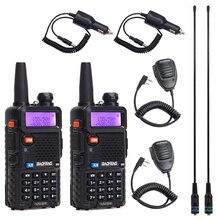 2 pçs baofeng BF UV5R rádio amador portátil walkie talkie pofung UV 5R 5 w vhf/uhf rádio banda dupla rádio em dois sentidos uv 5r cb rádio