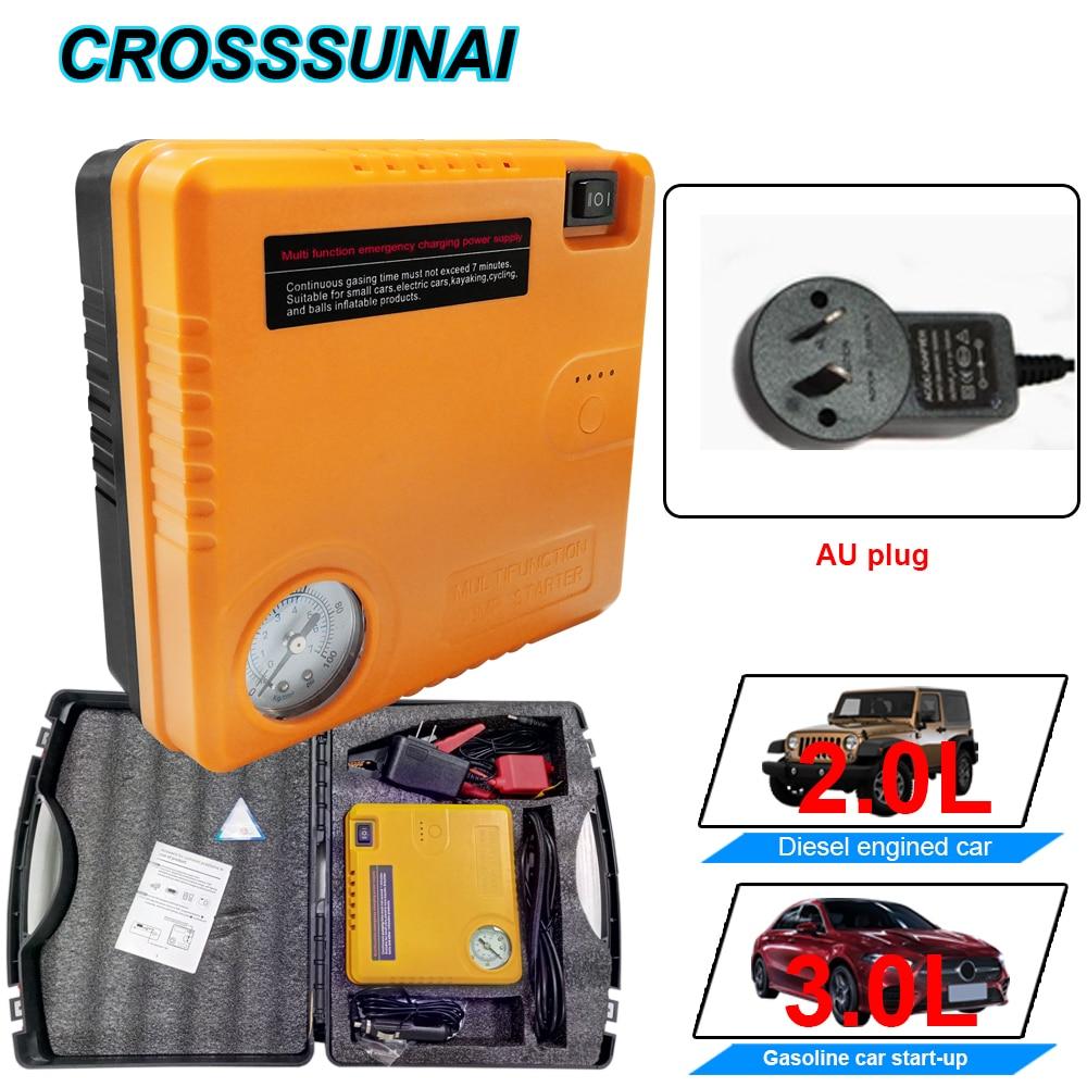 AU Plug Draagbare Auto Jump Starter Power Bank 12V Inflator Luchtpomp Booster Emergency Charger Waarschuwen Licht Batterij 16800mAh