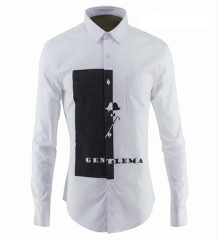 Oxford Beads Land Gao Fine High Temperature Wash Watermark Flower Male Shirt Cotton Tide Brand Men's Wear Men Shirt