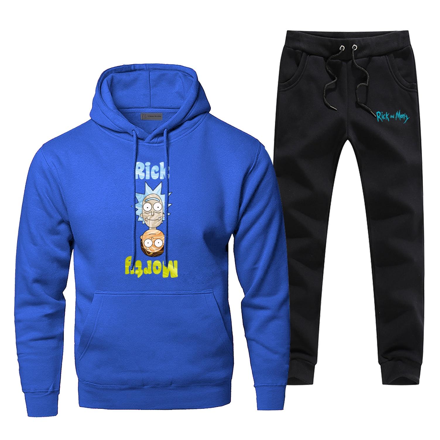 Rick And Morty Hoodies Fashion Casaul Rick Pants Sweatshirts Morty Fitness Men's Jogging Winter Bodywarmer Hip Hop Male Sets