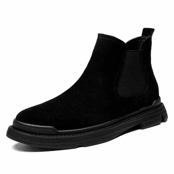 high quality mens casual chelsea boots slip-on genuine leather shoes black platform ankle boot outdoor cowboy botas masculinas