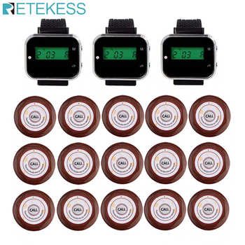 Retekess Restaurant Guest Pager Wireless Waiter Calling System For Cafe 3 Wrist Watch Receiver+15 Call Button Transmitter F3360 - DISCOUNT ITEM  30 OFF Cellphones & Telecommunications